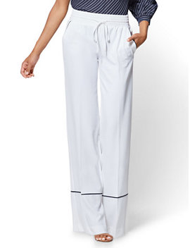 Piped Drawstring Palazzo Pant   White by New York & Company