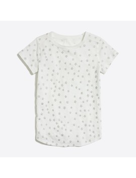 Girls' Glitter Stars Shirttail Hem T Shirt by J.Crew