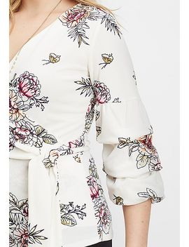 Floral Wrap Front Blouse by Maurices