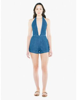 Denim Deep V Romper by American Apparel