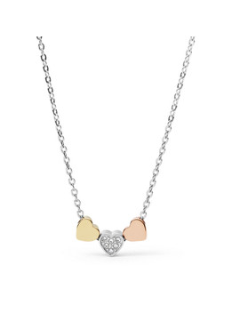 Damen Halskette   Tri Tone Heart by Fossil