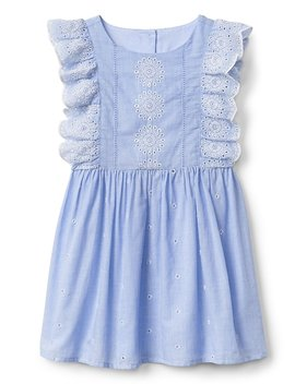 Eyelet Cascade Ruffle Dress by Gap