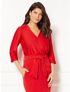 Eva Mendes Collection   Marjorie Wrap Bodysuit by New York & Company