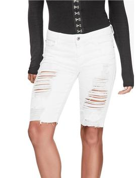 Destroyed Raw Cut Bermuda Shorts by Guess