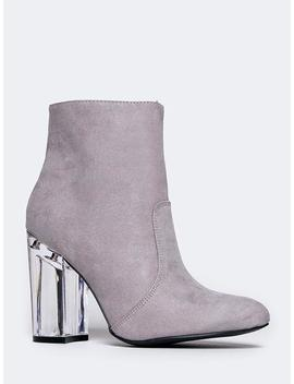 Clear Heel Ankle Bootie by Zooshoo