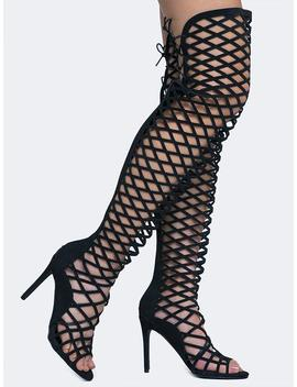 Lace Up Gladiator Heels by Zooshoo