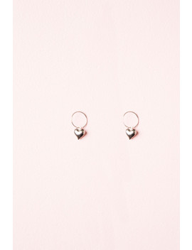 Silver Heart Charm Hoop Earrings by Brandy Melville