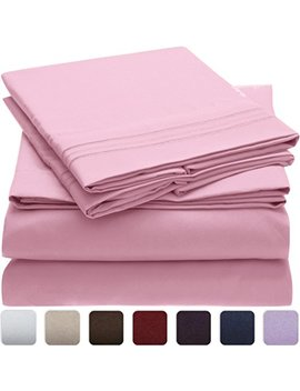 mellanni-bed-sheet-set---highest-quality-brushed-microfiber-1800-bedding---wrinkle,-fade,-stain-resistant---hypoallergenic---3-piece-(twin,-pink) by mellanni