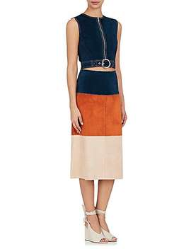 Colorblocked Leather Skirt by Derek Lam
