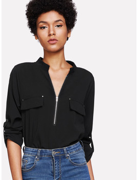 Curved Hem Zip Up Front Top by Sheinside