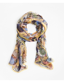 Kaleidoscope Floral Print Silk Chiffon Oblong Scarf by Brooks Brothers