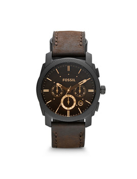 Machine Mid Size Chronograph Brown Leather Watch by Fossil
