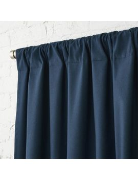 "Navy Blue Basketweave Ii Curtain Panel 48""X84"" by Crate&Barrel"