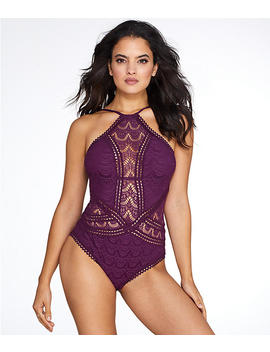 Color Play High Neck Wire Free One Piece by Becca