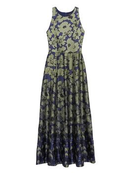 Floral Contrast Stitch Maxi Dress by Banana Repbulic