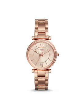Carlie Three Hand Rose Gold Tone Stainless Steel Watch by Fossil