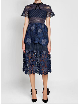 Navy Blue Mesh Panel 3 D Floral Lace Double Layer Midi Dress by Choies