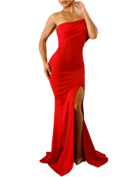Red One Shoulder Thigh Split Dress by Choies
