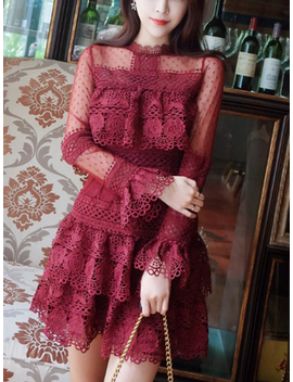 Burgundy Sheer Mesh Panel Long Sleeve Lace Mini Dress by Choies