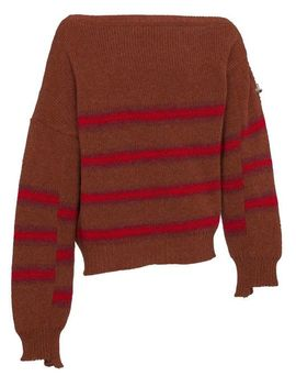 Men's Brown Wool Striped Sweater With Buckle Detail by Raf Simons