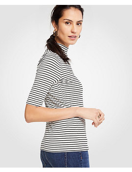 striped-elbow-sleeve-mock-neck-top by ann-taylor