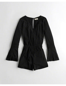 Bell Sleeve Wrap Romper by Hollister