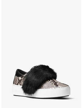 Maven Fur And Embossed Leather Slip On Sneaker by Michael Michael Kors