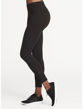 High Rise 7/8 Length Gathered Mesh Compression Leggings For Women by Old Navy
