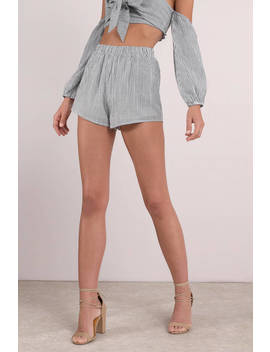 Cora Grey Elastic Waist Shorts by Tobi