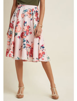 Ikebana For All A Line Midi Skirt In Pink Petals Ikebana For All A Line Midi Skirt In Pink Petals by Modcloth