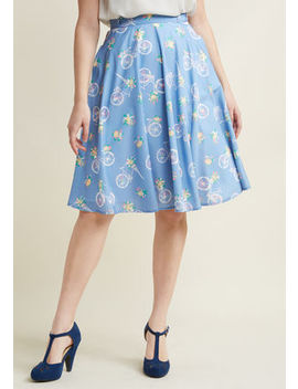 Just This Sway Midi Skirt In Blue Bicycles Just This Sway Midi Skirt In Blue Bicycles by Modcloth