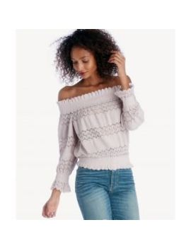 Smocked Off The Shoulder Knit Lace Top    by J.O.A.