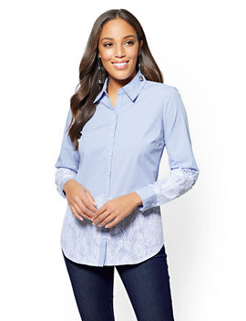 7th Avenue   Secret Snap Madison Stretch Shirt   Stripe   Lace Overlay by New York & Company