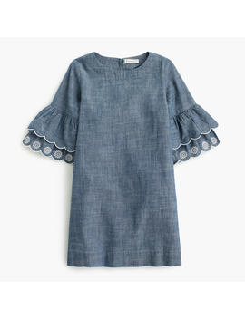 Girls' Ruffle Sleeve Chambray Dress by J.Crew