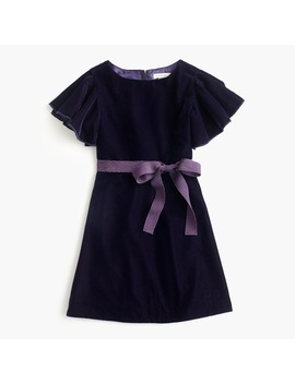 Girls' Flutter Sleeve Velvet Dress by J.Crew