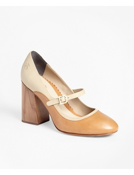 Leather Mary Jane Spectator Pumps by Brooks Brothers