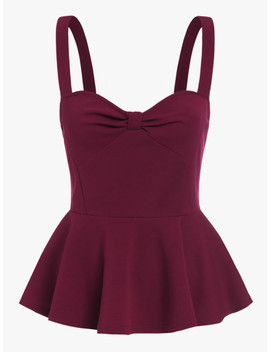 Knot Sweetheart Front Peplum Cami Top by Shein