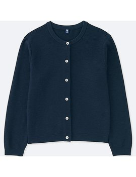 Girls Crew Neck Long Sleeve Cardigan by Uniqlo