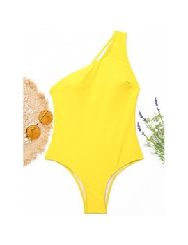 One Shoulder Strappy One Piece Swimwear   Yellow L by Rosewholesale