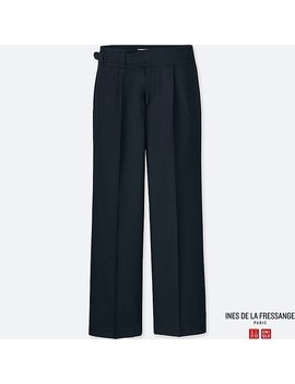 Women Ines Wool Blended Wide Trousers by Uniqlo