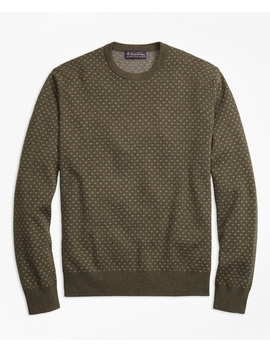 Supima® Cotton Cashmere Bird's Eye Crewneck Sweater by Brooks Brothers