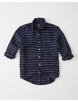 Striped Linen Shirt by Abercrombie & Fitch