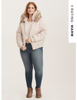 Faux Fur Trimmed Quilted Bomber Jacket by Torrid