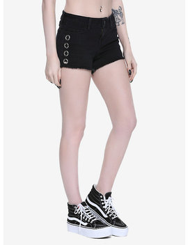 Blackheart Grommet Raw Hem Shorts by Hot Topic