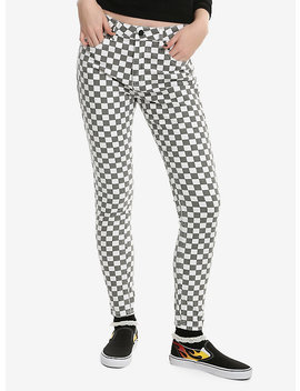 Dickies Grey &Amp; White Checkered Skinny Jeans by Hot Topic