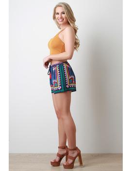 mixed-print-tassel-drawstring-decor-shorts by urbanog