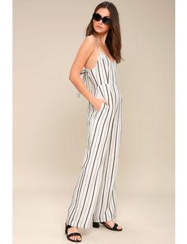 Chesapeake White Striped Wide Leg Jumpsuit by Lulus