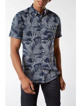Navy Short Sleeve Leaf Print Shirt by Next