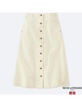 Women Ines Denim Flared Midi Skirt by Uniqlo