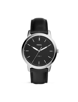 The Minimalist Three Hand Black Leather Watch by Fossil